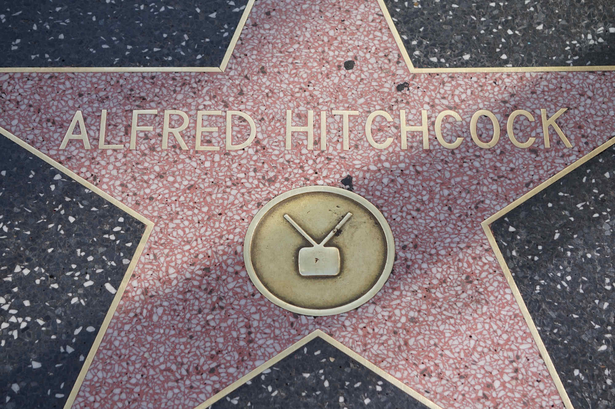 Der Stern Alfred Hitchcocks auf dem Walk of Fame in Hollywood.