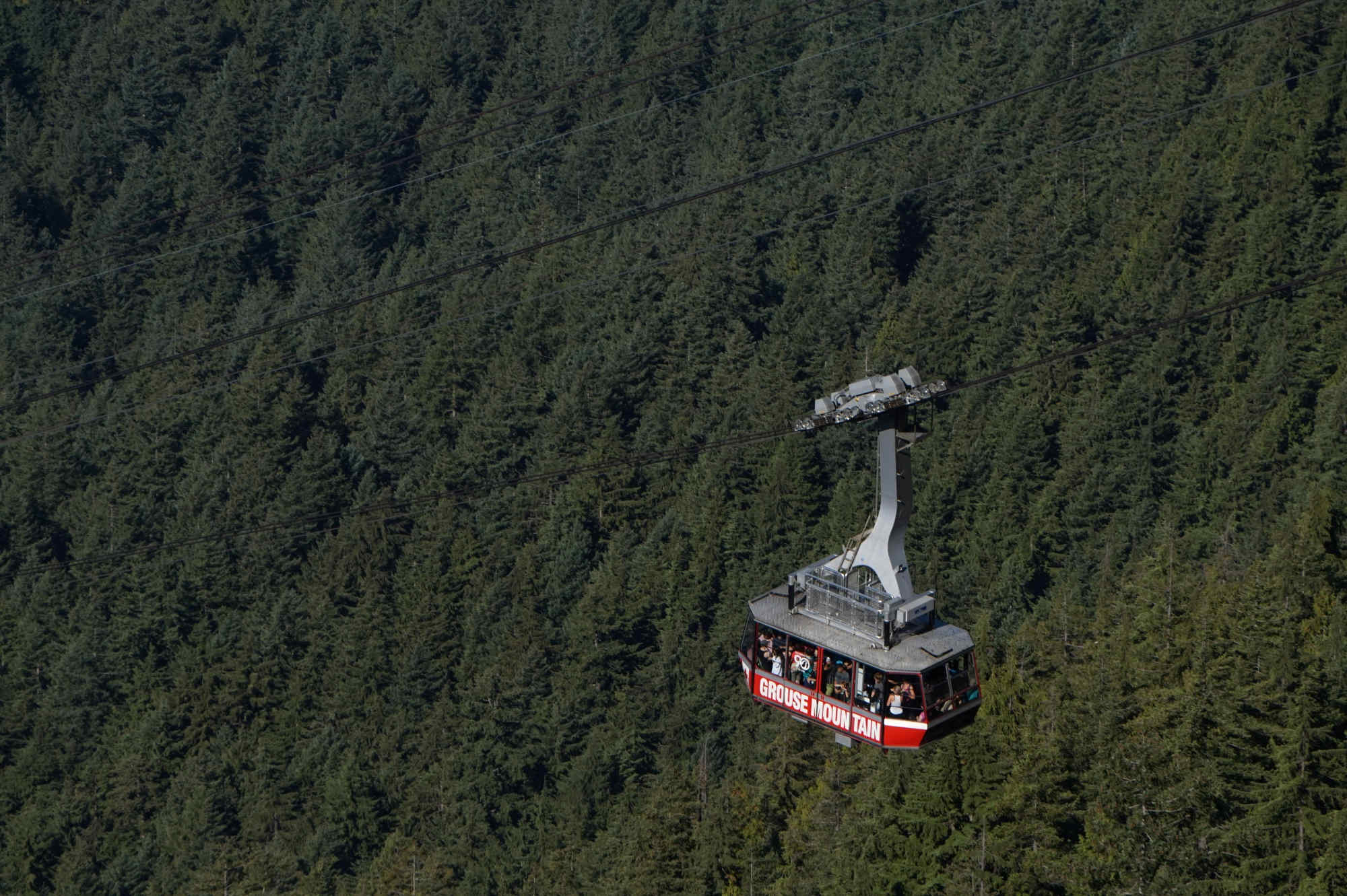 Eine Gondel des Skyrides am Grouse Mountain.
